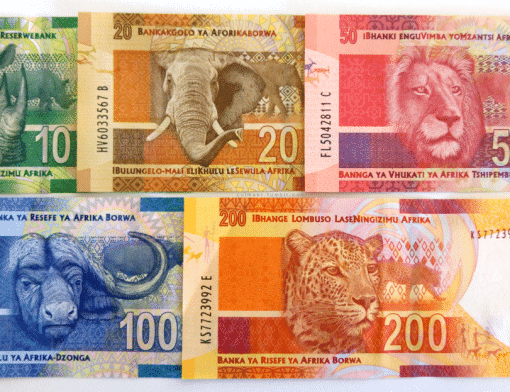 notas de rands sul-africanos, moeda corrente da África do Sul